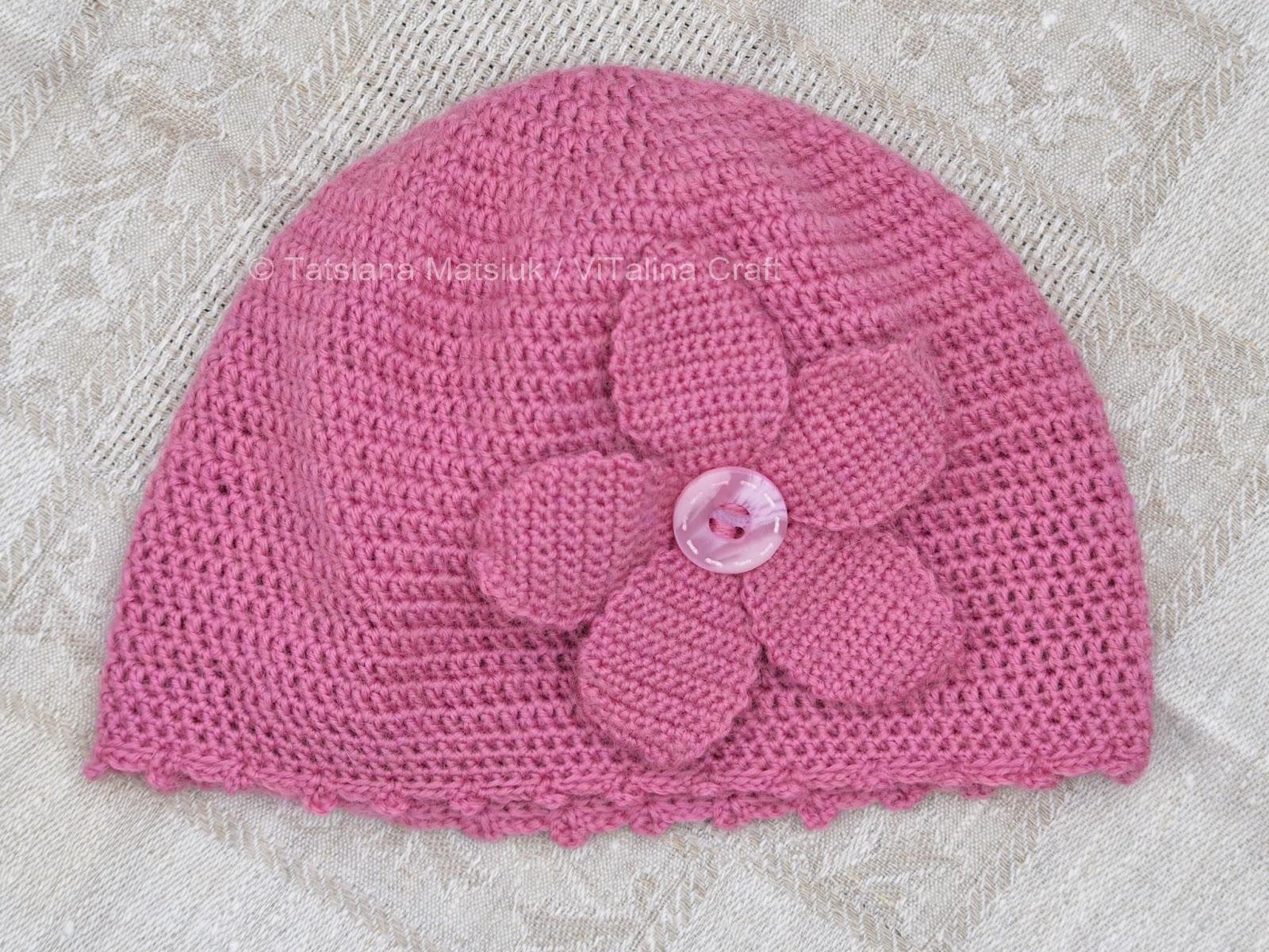 Peach Flower Baby Hat Knitting Pattern ViTalina Craft