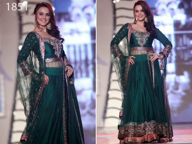 bollywood Preity Zinta Green New Designer Anarkali Suit