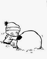 Calvin and Hobbes Snowmen Cake - Calvin Rolling a Snowball Comic Strip Frame by Bill Waterson