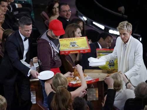 Brad Pitt pizza oscar 2014