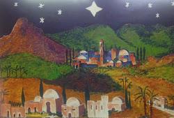 Le décor de la crèche réalisé par tous les élèves du Primaire avec l'aide de Véronique