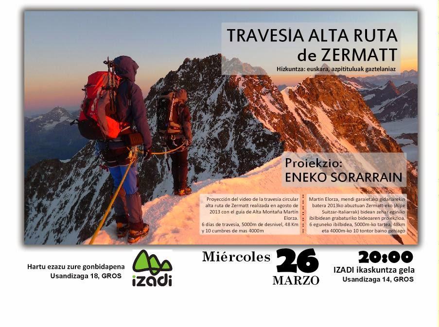 Proyeccion Alta ruta de zermatt (Alpes Suizos)