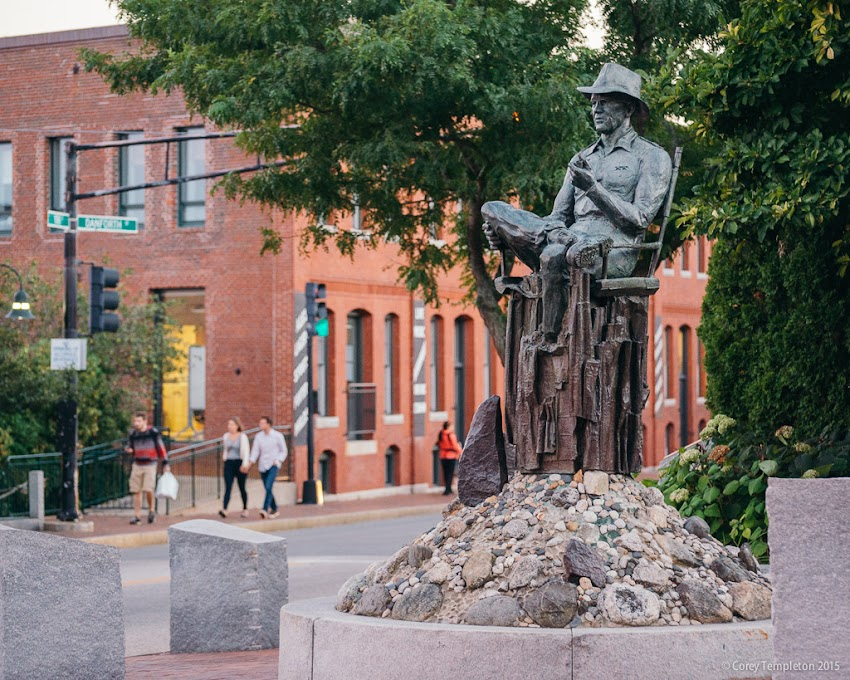 Portland, Maine September 2015 John Ford public art statue at York and Pleasant Streets. Photo by Corey Templeton.