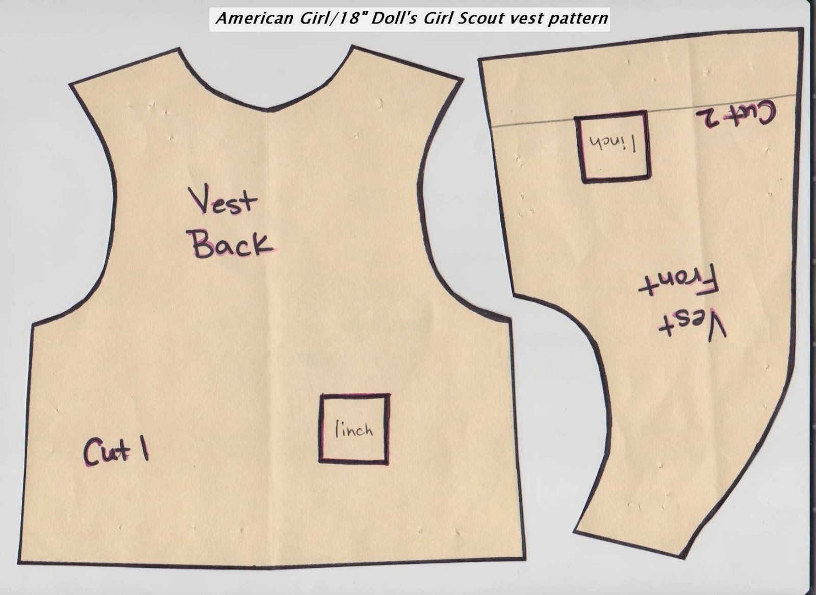 Girl Scout Daisy Vest Pattern For American Girl Doll