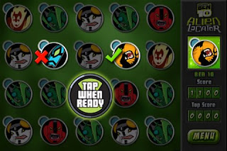 Ben 10 Alien Locator app game screen