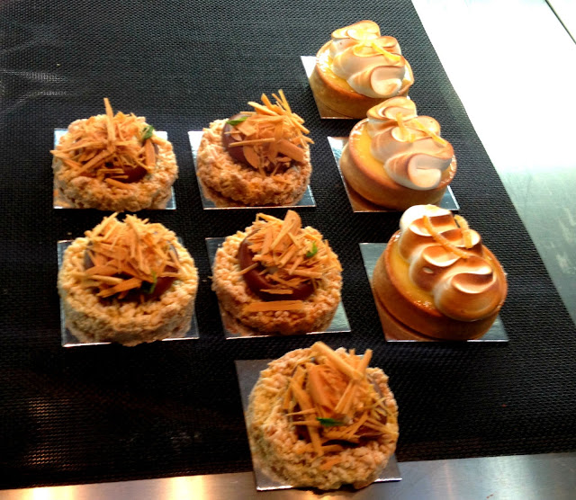 (L) Milk chocolate, vanilla ricotta tart, lavender semolina crumbs; (R) Lime, almond toasted meringue tart