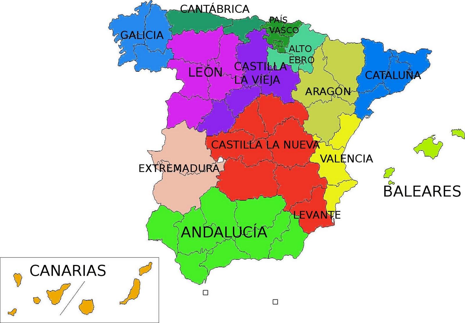 Mapa De Regiones De Espaa