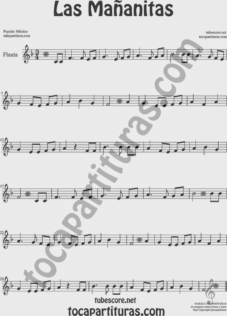 Las Mañanitas Partitura de Flauta Travesera, flauta dulce y flauta de pico Sheet Music for Flute and Recorder Music Scores