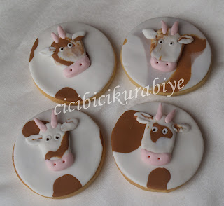 inek şeklinde doğum günü kurabiyeleri