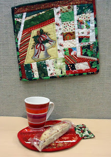 Mug rug and wall hanging in my office