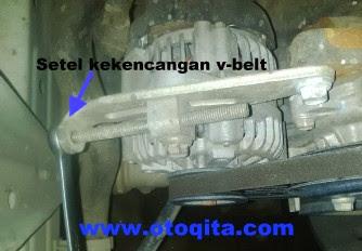 Gambar cara kencangkan tali kipas mobil Avanza