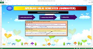 Tampilan awal aplikasi olah nilai semester siswa 2015