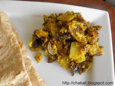 aloo baingan, vangi batata kachrya,  batata kachrya, eggplant stir fry, healthy cooking