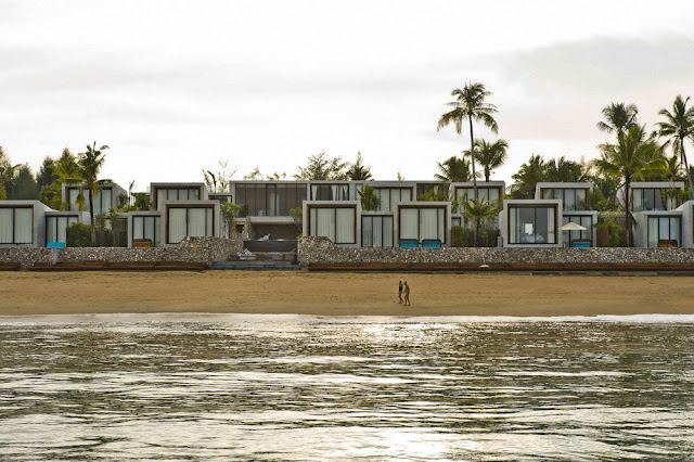 Modern homes on the beach from the sea