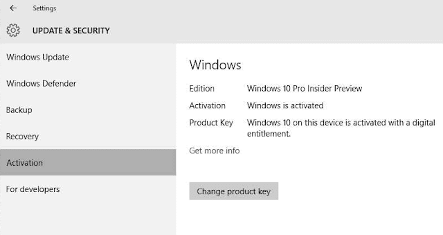 Cambia product key Attivazione Windows 10