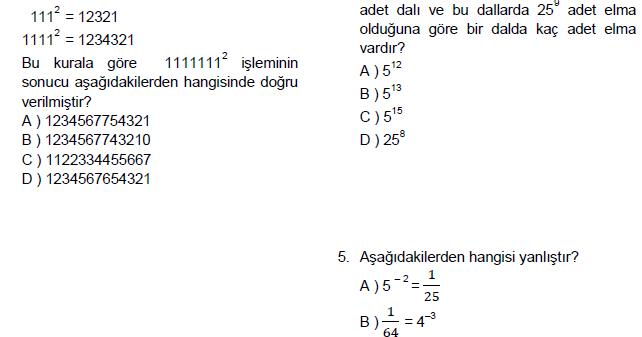 8 Sınıf Matematik 1 Dönem Teog Denemesi Online Testi çöz 3