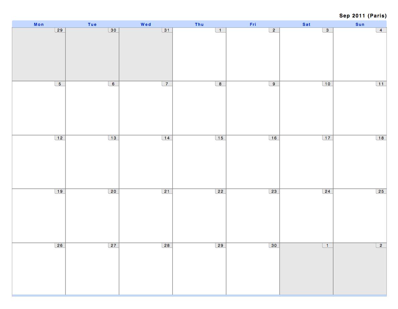 Blank Calendar View : Philofaxy monthly view calendars