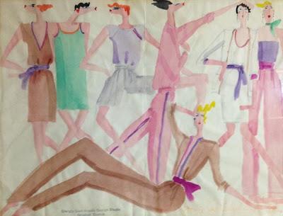 Vintage Giorgio Sant Angelo Pastels Original Sketch