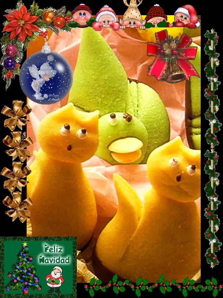 Pa mojar pan postres mazap n de colores animalitos de - Postre especial navidad ...