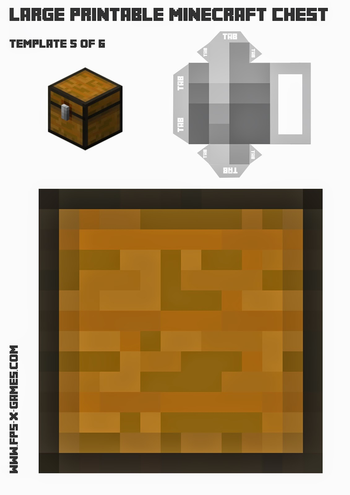 Print and create your own Minecraft chest, papercraft template 5 of 6