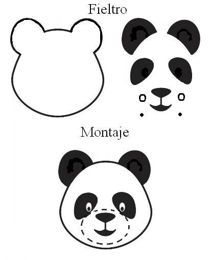 Molde De Oso Panda Fieltro