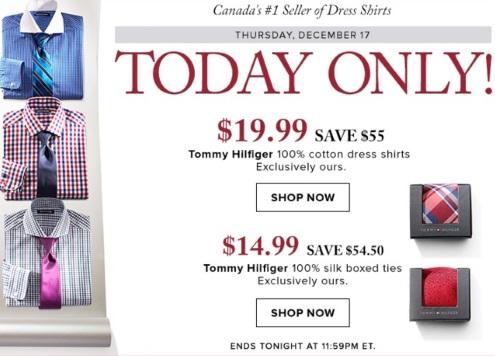 Hudson's Bay Tommy Hilfiger Dress Shirts $19.99 + Boxed Ties $14.99