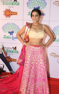 Actress Mumaith Khan  Picture Gallery in Half Saree at Memu Saitam Dinner with Stars Red Carpet  6.jpg