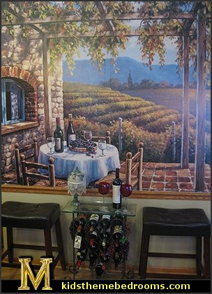 Tuscany Vineyard Style Decorating Tuscan Wall Mural Stickers Tuscan Themed Kitchen Accessories Grape