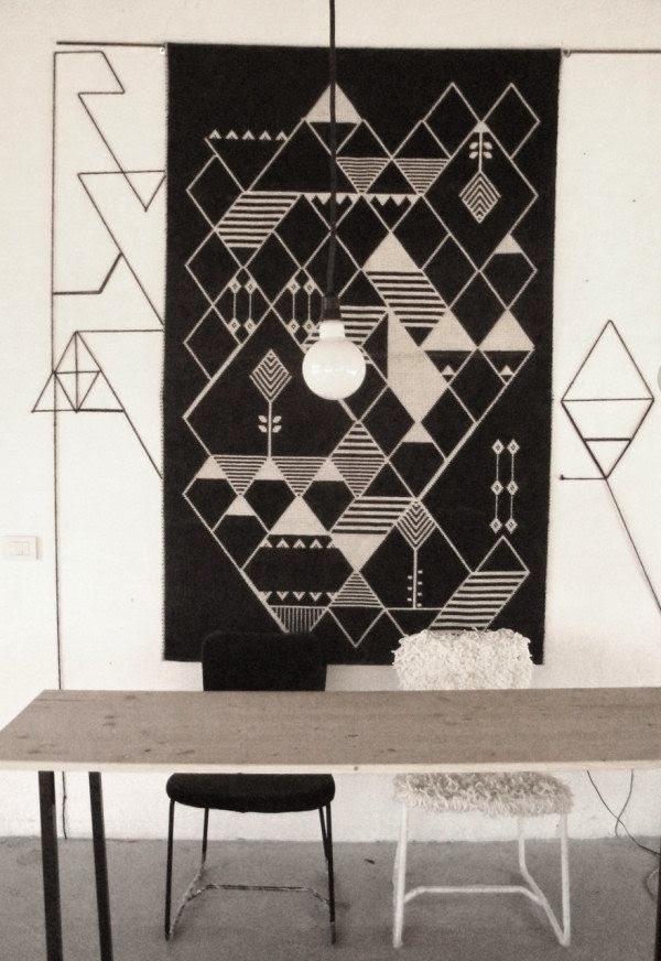 Handmade rugs and wall hangings by mio diamonds houzz home for Black and white wall to wall carpet
