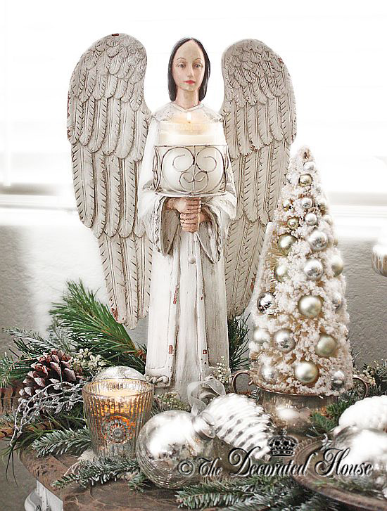 The Decorated House :: White Christmas - White Angel with Mercury Glass and Silver