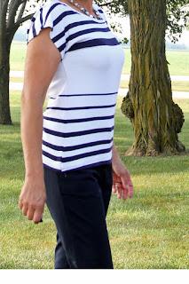 Kristen Kimono Tee made with a stripe knit from Mood Fabrics