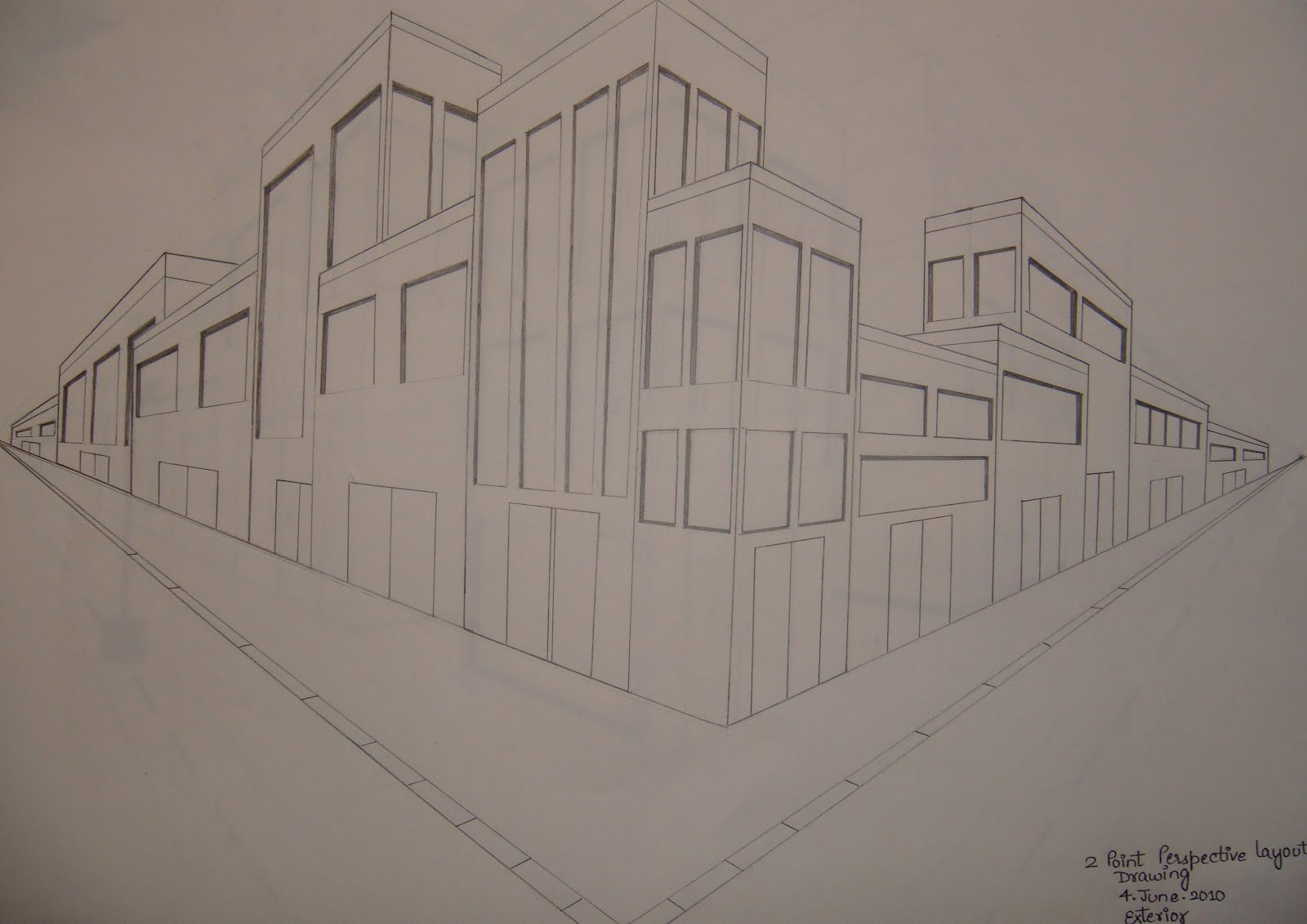 Art and animation 2 point perspective layout drawings for Exterior 1 point perspective
