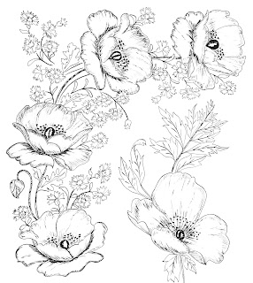 digital two for tuesday beautiful flower designs for embroidery or digital stamping