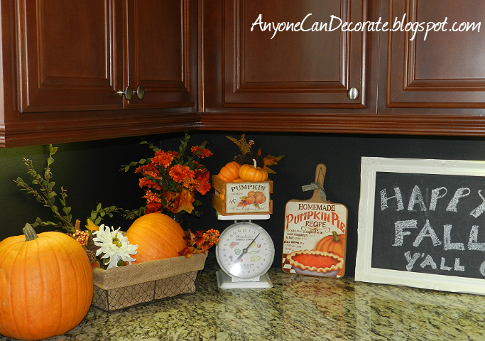 lovely Pumpkin Kitchen Decor #9: I popped the floral picks into a few places (wherever I thought they looked  good). The scale I already had from a prior thrift store trip... and the ...