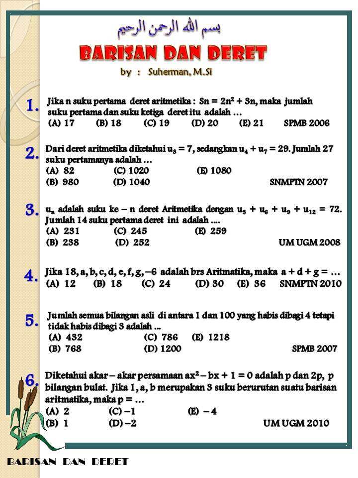 Soal Barisan Dan Deret Aritmatika 1000 Soal Matematika Uan Snmptn Simak Ui
