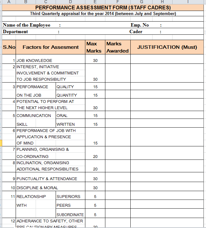 Quarterly Performance Appraisal Form .  Format Of Performance Appraisal Form
