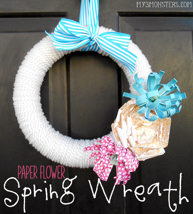 Paper Flower Spring Wreath at my3monsters.com