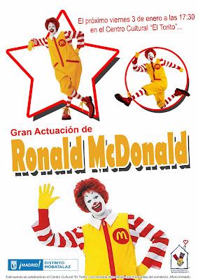 Cartel de la actuación de Ronald McDonald.