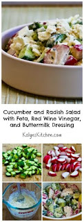 Cucumber and Radish Salad with Feta, Red Wine Vinegar, and Buttermilk Dressing [from KalynsKitchen.com]