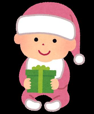 サンタクロースのコスチュームを着た赤ちゃんのイラスト