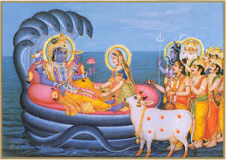Lord vishnu sitting on snake