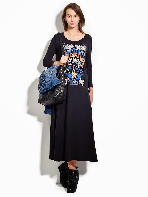 baskılı uzun elbise modeli