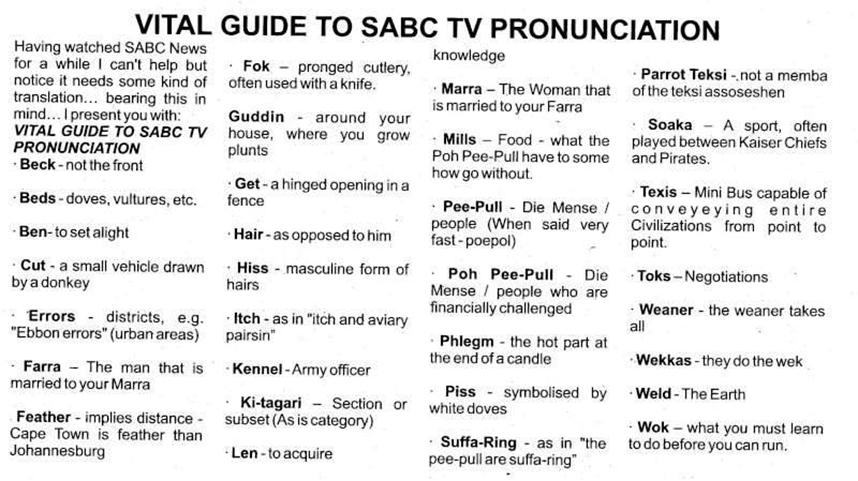 South African Jokes: [Fwd: TV Pronunciation Guide]