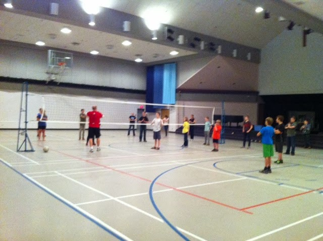 The focus was Volleyball skills. The kids did several warm up and ...