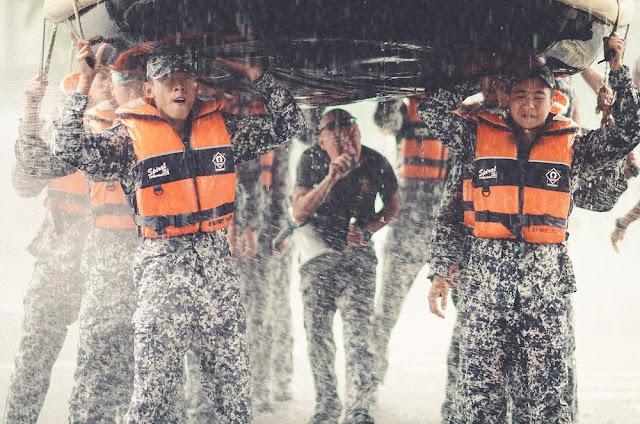 Ah Boys to Men 3 Frogmen still boat exercise rain