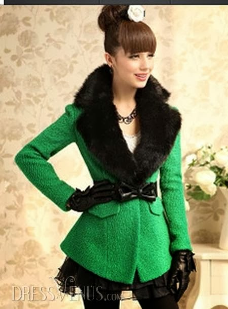 Graceful Green Lapel Nipped Waist Woolen Overcoat
