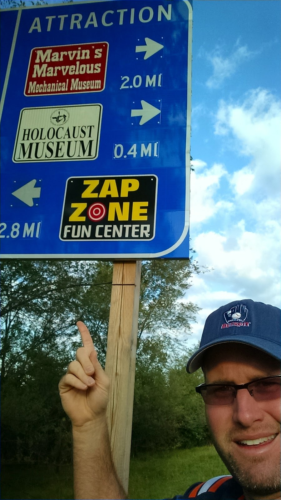 In Metro Detroit, a new highway sign puts the Holocaust Museum between two video arcade centers