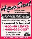 Aquaseal Wet Leaky Basement Solutions Specialists Toronto 1-800-NO-LEAKS or 1-800-665-3257
