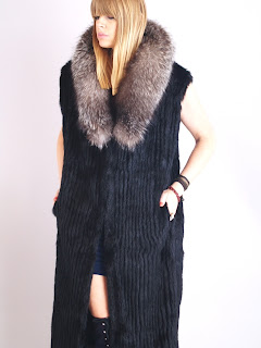Vintage black mink maxi vest with brown fox fur trim