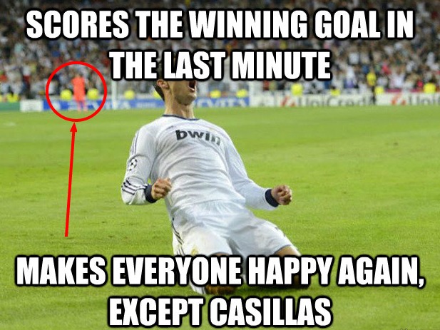 CR7 celebrates again, Casillas is not impressed!